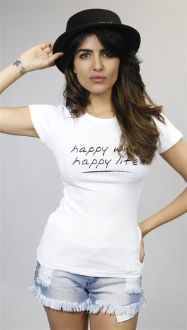 Teresa Giudice Happy Wife Happy Life Tee in WHITE