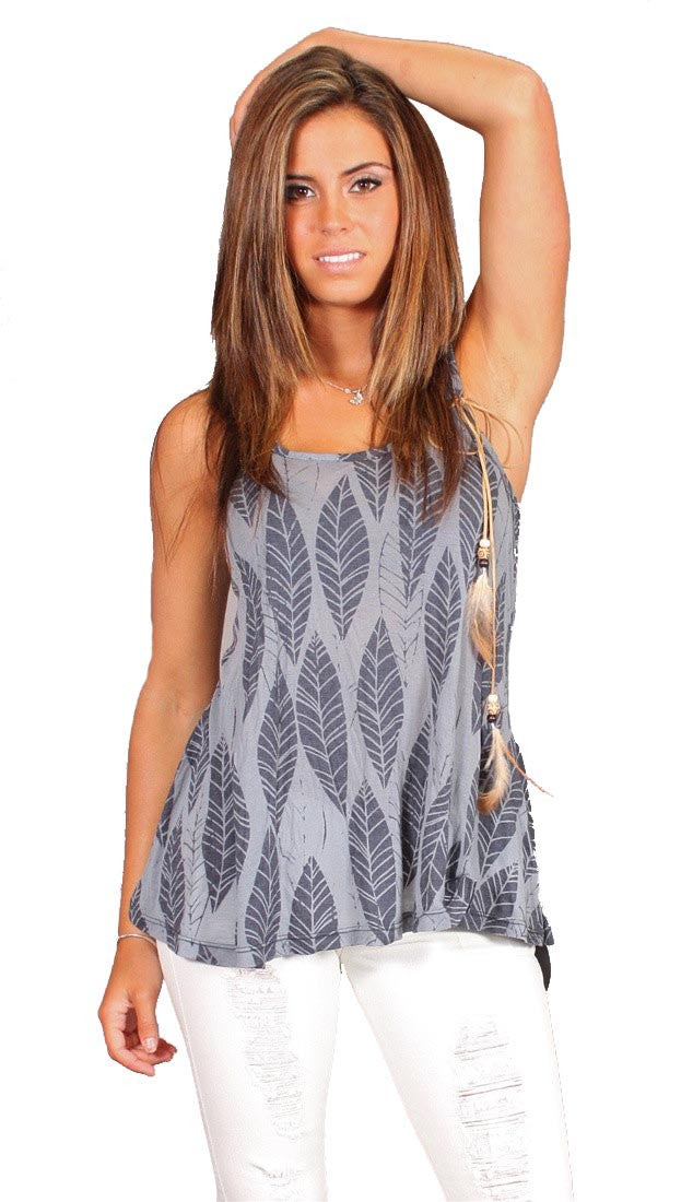 Testament Racer Back Feather Print Tank in Navy