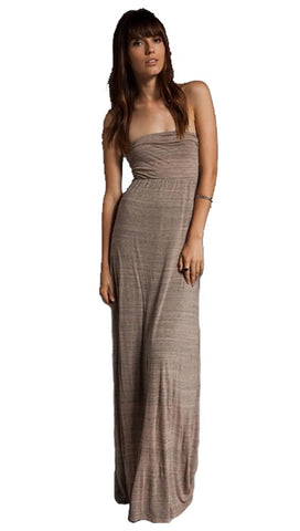 Testament Strapless Maxi Draped Open Cowl Back Olive Green
