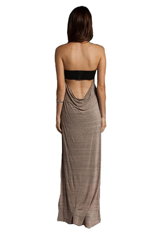 Testament Strapless Maxi w/ Draped Cowl Back in Olive