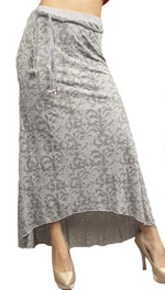 Testament Long Maxi Burnout Skirt Braided Bead Belt Grey