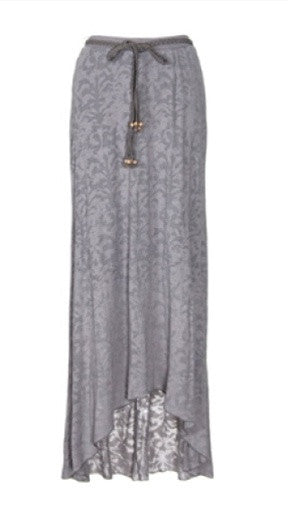 Testament Maxi Skirt W/ Braided Bead Belt in Grey
