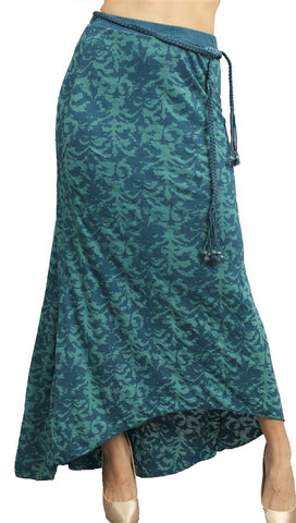 Testament Maxi Skirt Braided Bead Belt Aqua