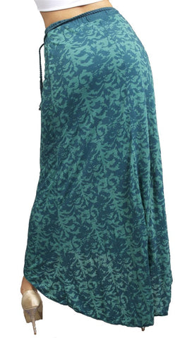 Testament Maxi Skirt W/ Braided Bead Belt in Aqua