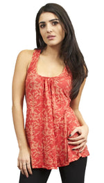 Testament Burnout Scoop Tank in Coral Crochet Back