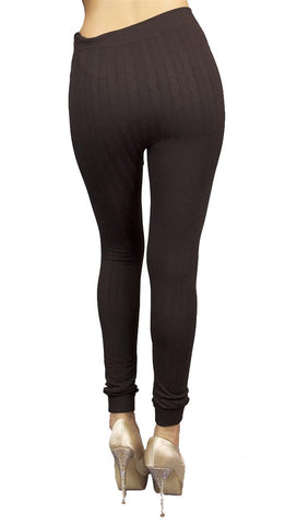 Thorn Guarden Knit Pattern Leggings in Brown