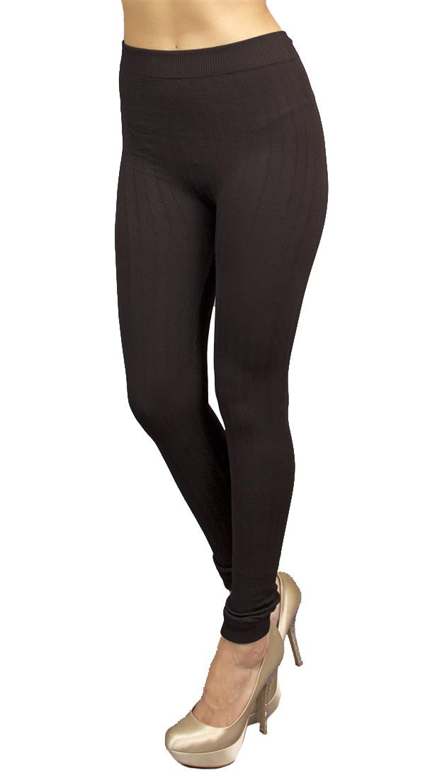 Thorn Guarden Knit Pattern Leggings Brown