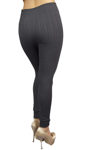 Thorn Guarden Knit Pattern Leggings in Charcoal Grey