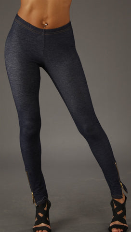 Thorn Guarden See You Monday Denim Zipper Leggings