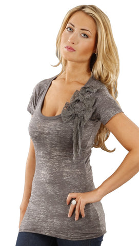 Threads 4 Thought Lace Bow Burnout Tee in Charcoal