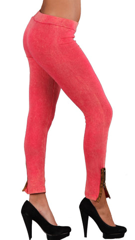 Threads 4 Thought Organic Contrast Ankle Zipper Leggings in Vintage Pink