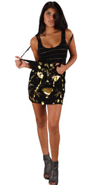 Trash & Luxury Double Layer Gold Cheetah Tank Tunic Dress Black
