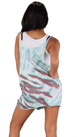 Trash & Luxury Double Layer Zebra Punk Tie Dye Tank Tunic Dress