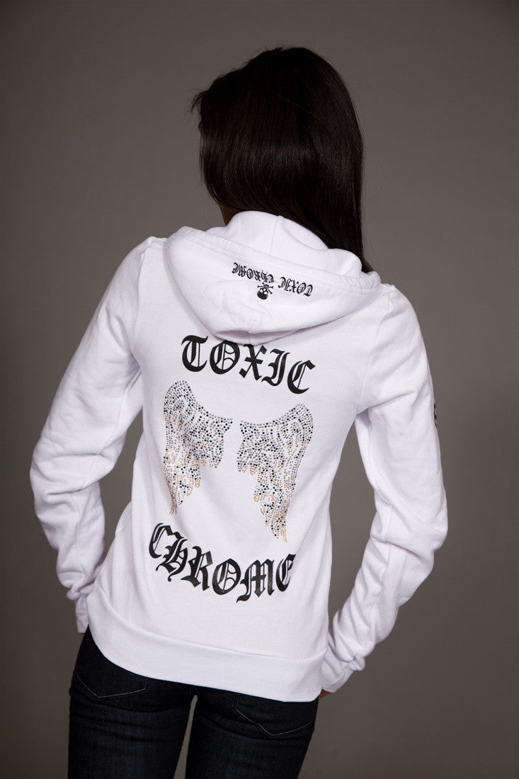 Toxic Chrome Wings Hoodie Unisex White