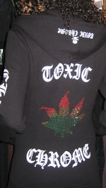 Toxic Chrome Pot Leaf Hoodie Unisex Black