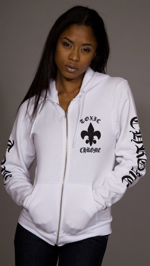 Toxic Chrome Pot Leaf Hoodie Unisex White
