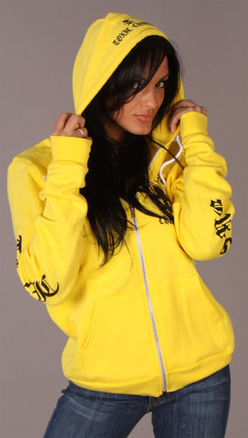 Toxic Chrome Pot Leaf Hoodie Unisex Yellow