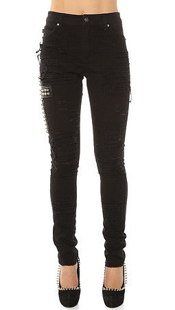 Tripp NYC The High Waisted Ripped & Studded Cross Skinny Jean in Black