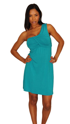 Tart Collection Alexis One Shoulder Dress in Turquoise