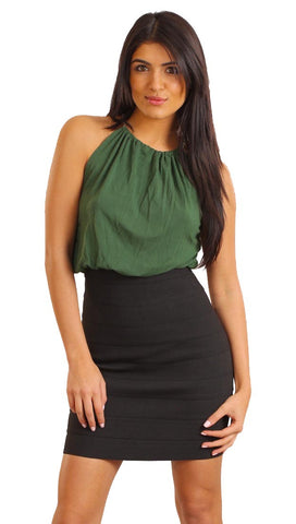 Tart Collections High Neck Laura Bandage Dress in Green