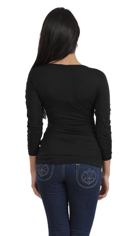 Tart Collection Emma Rouched Vneck Top in Black