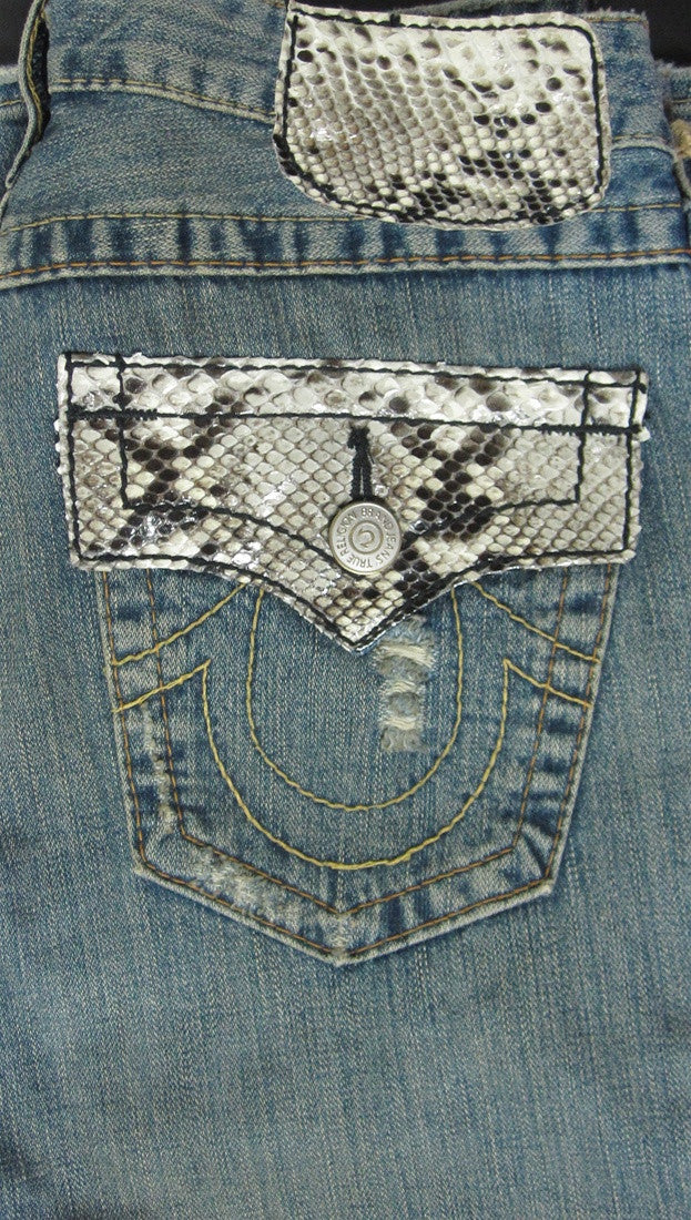 True Religion Joey Snake Skin Pocket Cover Jeans