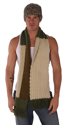 True Religion Mixed Cable Knit Scarf Green