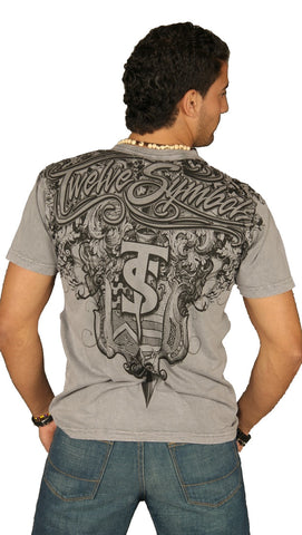 Twelve Symbols Mens Imperial Armor Crew Neck Tee Shirt Grey