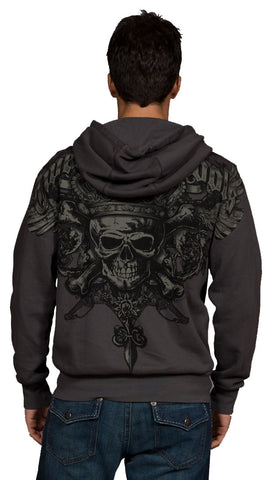 Twelve Symbols Skull and Crossbone Zip Up Hoodie Sweatshirt Grey