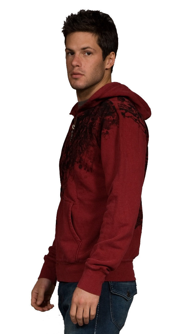 Twelve Symbols Warriors Zip Up Tattoo Hoodie Sweatshirt Red