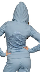 Twisted Heart House Rhinestone Zip Up Hoodie Sweatshirt Frost Baby Blue
