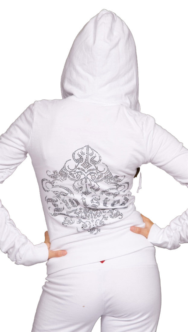 Twisted Heart House Rhinestone Zip Up Hoodie Sweatshirt