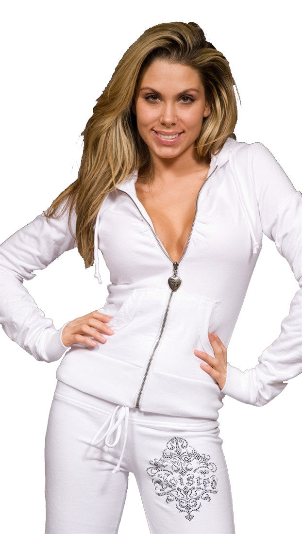 Twisted Heart House Rhinestone Zip Up Hoodie Sweatshirt White