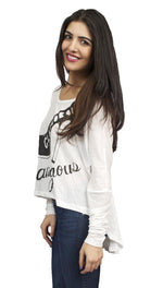 Toxxy Glamourous Long Sleeve Tee in Ivory