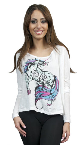 Toxxy Unicorn Long Sleeve Tee in Ivory