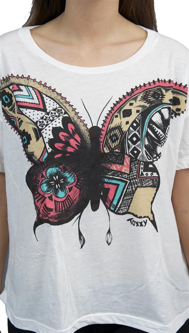 Toxxy Butterfly Short Sleeve Tee in Ivory
