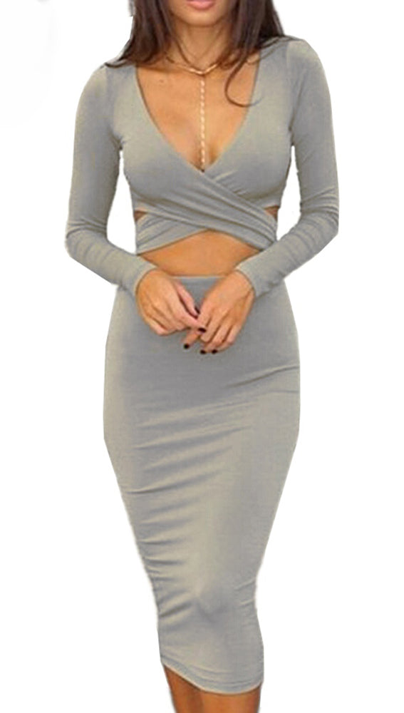 The Nadia Long Sleeve Cut Out Midi Dress Steel Grey