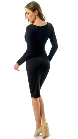 The Nadia Long Sleeve Cut Out Midi Dress Black - Pencil Skirt - V Neck