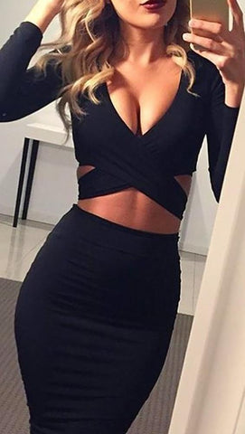 f16a2d70e5d The Nadia Long Sleeve Cut Out Midi Dress Black - Pencil Skirt - V Neck
