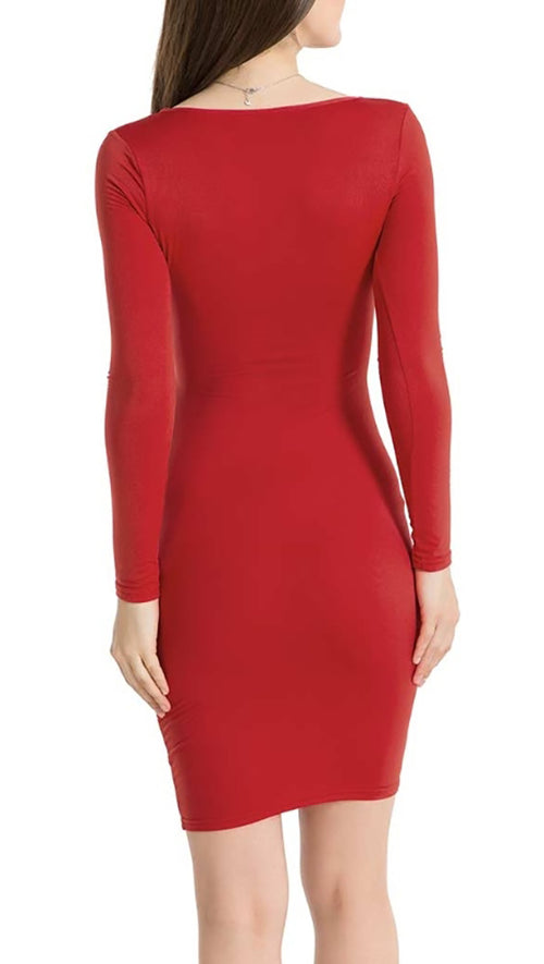 The Nadia Long Sleeve Cut Out Midi Dress Red - Pencil Skirt - V Neck