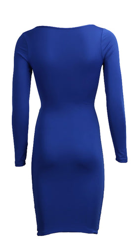 The Nadia Long Sleeve Cut Out Midi Dress Bright Cobalt Blue - Pencil Skirt - V Neck