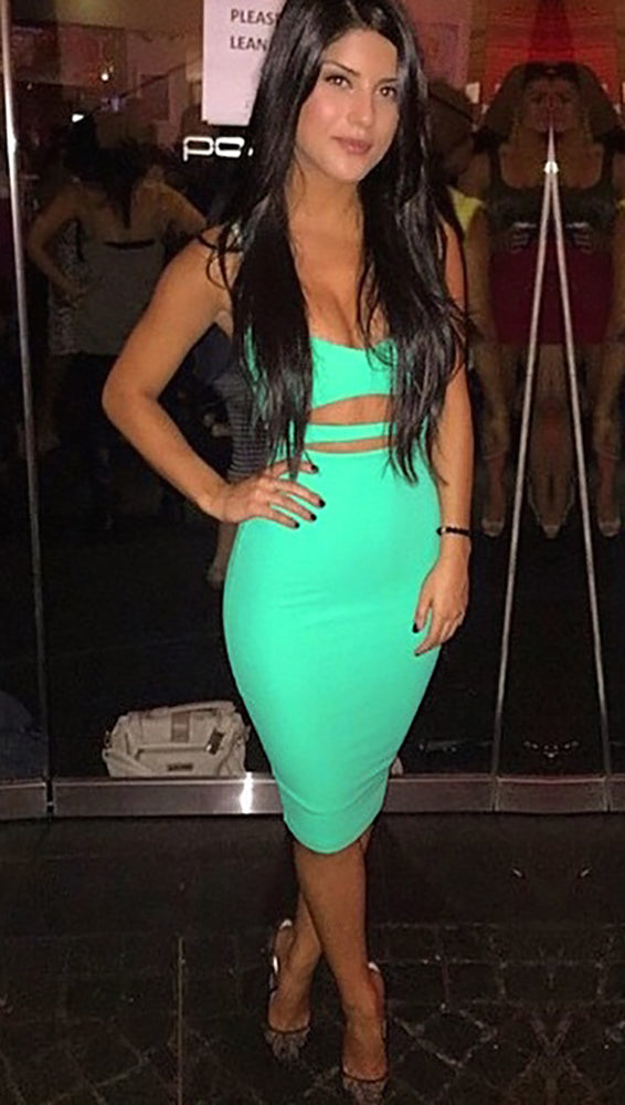 The Nina Cut Out Midi Dress Turquoise V Neck Bodycon Sexy - ShopAA