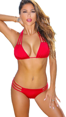 Chynna Dolls Swimwear Miami Solid Red Sexy Triple Scrunch Bikini