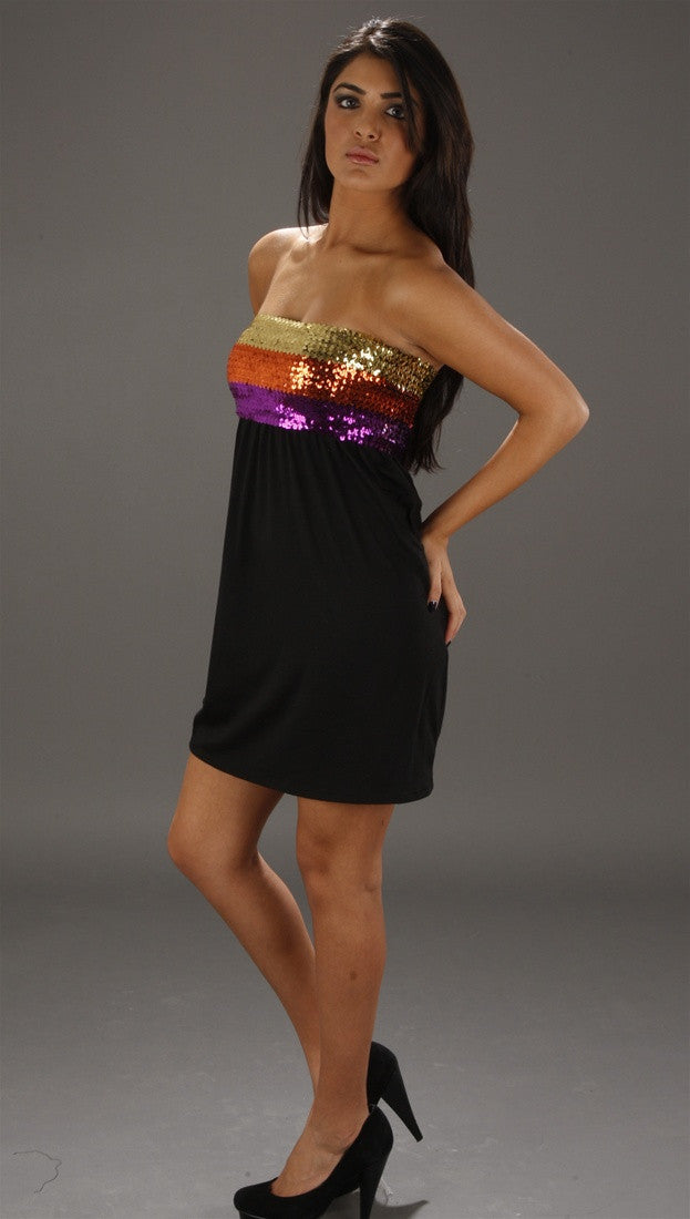 Vintage Havana Multicolored Sequin Tube Dress in Black
