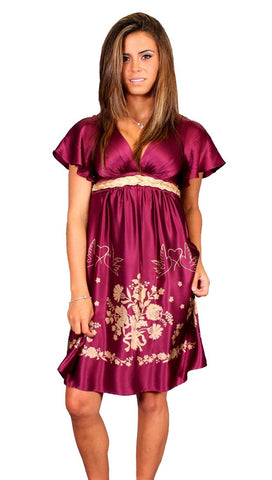 VAVA by Joy Voom Silk Babydoll Peace V Neck Dove Dress in Plum