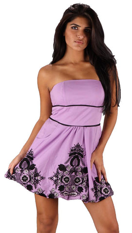VAVA by Joy Han Voom Jenn Victorian Strapless Bubble Dress Purple