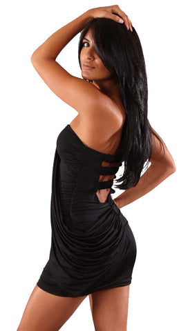 Voxx Tube Strapless Cut Out Mini Dress Black Sash Mini