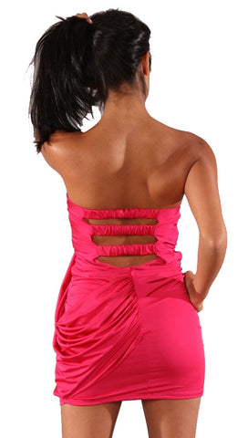 Voxx Tube Strapless Cut Out Mini Dress Fuschia Pink Sash Mini Sash