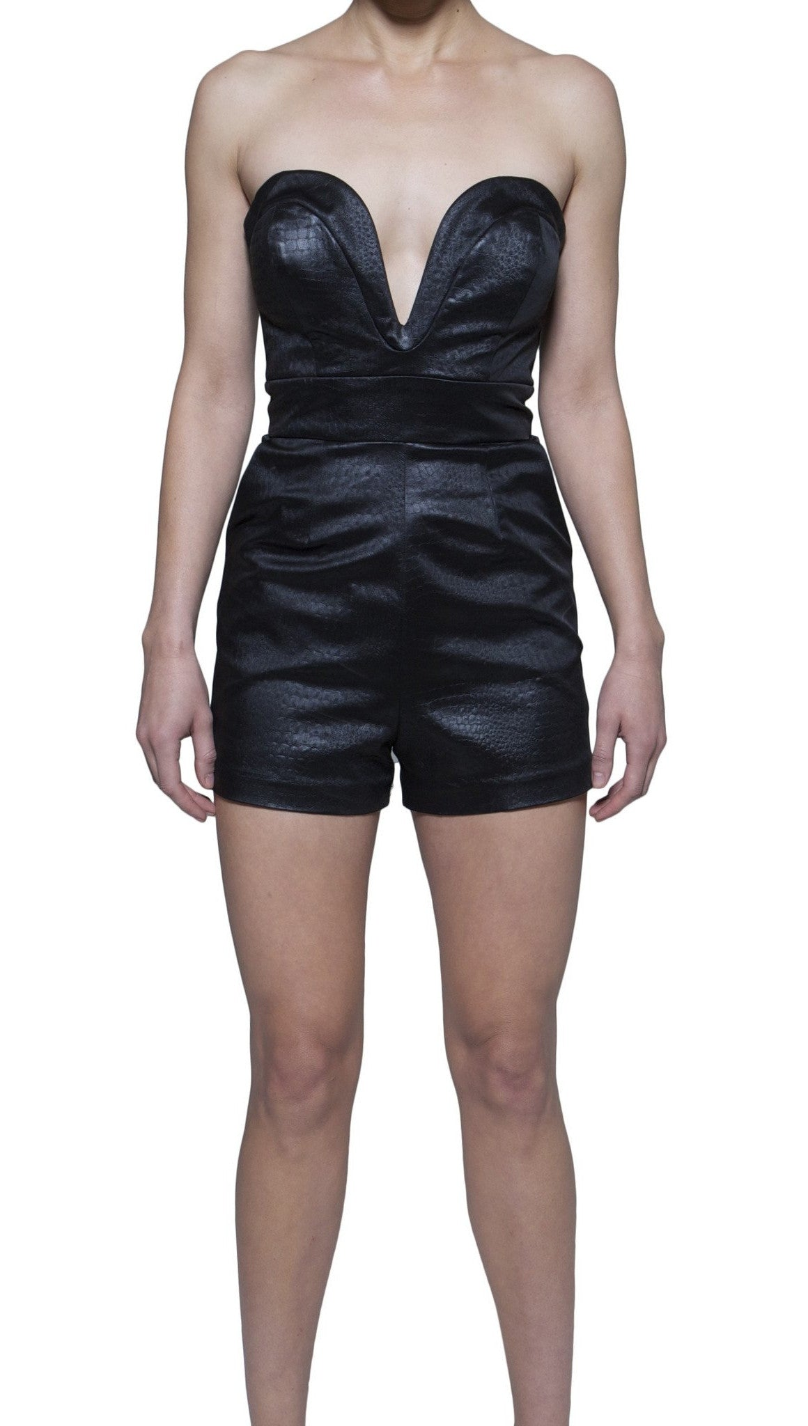 Ani Lee Bianca Romper in Snake Skin Black Silk