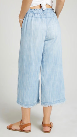 Bella Dahl Side Stripe Wide Leg Crop Pants Del Sol Wash Denim I ShopAA